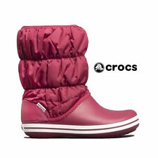 NWT CROCS Women's Sz. 11 Winter Warm Comfortable Puff Boots in Pomegranate/White