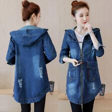 Womens Plus Size Denim Casual Jeans Jacket Pocket Zip Coat Hooded Long Size 6-20