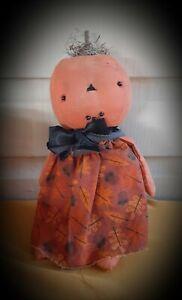 Primitive Rag Stuffed Pumpkin  Doll #182 ~Mountain Holler Prims~