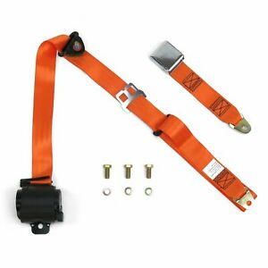 3Pt Orange Retractable Seat Belt Airplane Buckle aircraft point muscle car v8 GM
