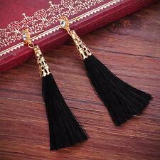 Women Charm Gold Plated Shiny Rhinestone Long Thread Tassel Dangle Earrings Hot