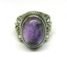 Handmade 925 Solid Sterling Silver Amethyst Oval Stone Ring (15 x 11mm) Size 0