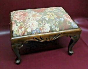 """Antique 16"""" Long French Provincial Style American Walnut Cabriole Leg Foot Stool"""