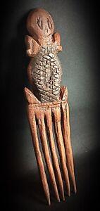 Rare ancien peigne broche à cheveux Africain en bois dur exotique vers 1940-50