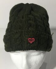 Obey Womens Green Knit Wendy Beanie Toboggan Winter Hat OSFM