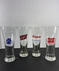Set of 4 Vintage Pilsner Beer Glasses-Assorted
