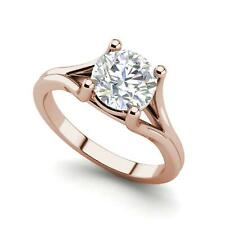Cut Diamond Engagement Ring Rose Gold Split Shank 2 Carat Vvs2/F Round