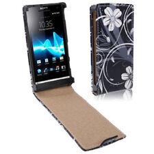 Flip Tasche für Sony xperia S / LT27i Blumen schwarz weiß Etui Case Hülle
