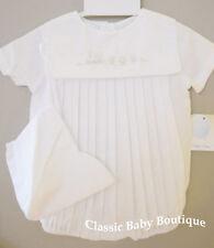 NWT Petit Ami White Train 2 piece Romper Newborn Hat Baby Boys Bubble