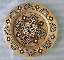 """Ukrainian Decorative Plate,Pear Wood,Hand Carved,Inlaid Colorful Glass Beads 9"""""""
