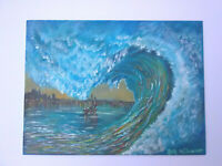 Original Acrylic Painting12 x16 Wave City Boat Canvas Panel, Beach, Coastal Art