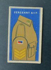 Rare 1930's Sweetacres Card Australian Fighting Force Badges  Sergeant A.I.F.