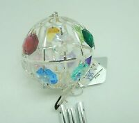 Wind Chime -Ball Circle- Austrian crystals- silver color -blue red green yellow