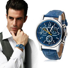 Classic Men Business Watch Blue Leather Analog Quartz Stainless Steel WristWatch