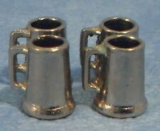 1:12 Scale 4 Metal Tankards Bar Pub Mugs Tumdee Dolls House Drink Accessory 226