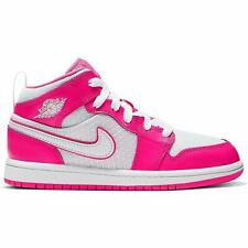 Youth Girls Air Jordan 1 Mid Hyper Pink White Athletic (PS) 640737-611 Size 3Y