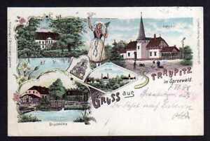 97947 AK Straupitz Litho 1898 Schloss Bahnhof Buschmühle Kirche Ganzsachenaussch