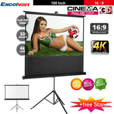 "100"" 3d 16 9 Manual Projector Projection Screen Home Theater With Tripod Stand"
