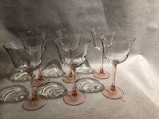 Vintage 6 Pink Depression Stem Wine Goblets w/ Clear Bell Shape Cup