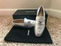 Chanel CC Silver Metallic Leather Mule Loafer Moccasin Slip on Flat 6.5/36.5