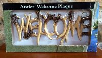 Deer Antler Poly Resin Welcome Sign Door Gate Mount Home Cabin Decor Hunting