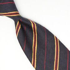 Manolo Costa Mens Shantung Silk Necktie Navy Blue Yellow Red Slub Stripe Italy