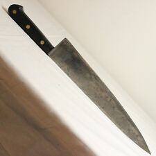 "Sabatier Style 12"" French Guelon Carbon Steel Chef Knife Running Ladder Patina"