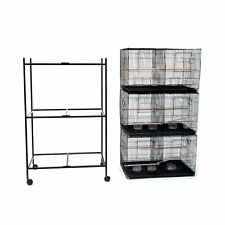 "Lot of 3 Large Bird Breeding Cage 30x18x18""H  With Divider With Rolling Stand281"
