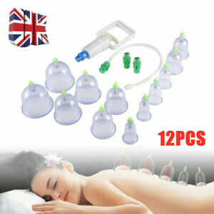 12 Chinese Cupping Set Massage Suction Vacuum Therapy Body Care Acupuncture UK