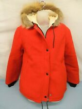 HUDSON BAY COMPANY WOOL COAT RED NO TAG, SIZE S SMALL HOOD FAUX FUR TRIM LINED