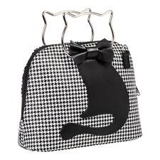 Banned Apparel Dixie Houndstooth Kitty Cat Retro Womens Black/White Handbag
