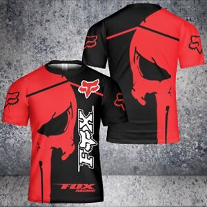 Fox-Racing-Red-Punisher-Skull 3D T-Shirt Size US S-5XL