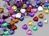 8mm Assorted Colors Flat Back Acrylic Heart Gems Plastic Rhinestones 200 Pieces