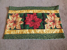 "Handmade Christmas Table Linen Quilted Poinsettias 11 x 17"" Green Red Gold Nice"