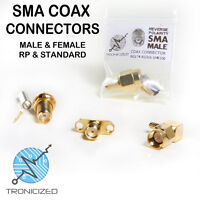 SMA COAX CRIMP CONNECTOR MALE or FEMALE 90º or RP RG58 RG174 *CHOICE OF TYPES*
