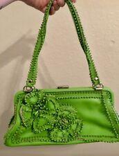 Isabella Fiore Green Pebble Leather Handbag With Flower Appliqués