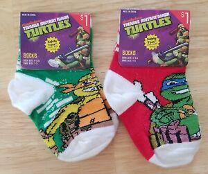 Teenage Mutant Ninja Turtles 2 Pair Boy's Sock Sz 4-5.5 Shoe Sz 1-5 Leo & Mike