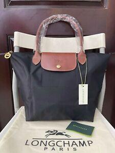 classic Longchamp Le Pliage Tote Bag 1899 Nylon Travel Handbag Black size;small