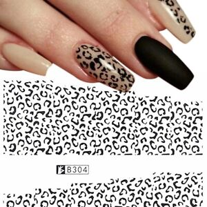 Lady Nail Art Water Decals Stickers Black White Animal Leopard Spots Gel Polish