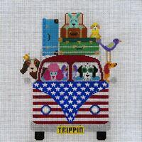 Needlepoint HandPainted JP Needlepoint PATRIOTIC Pups Trippin Along 10x10