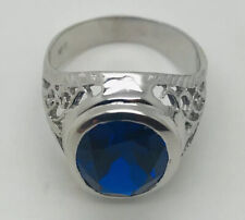 14Kt White Gold Men's Ring, Blue Color Stone Cubic Zirconia, 7.40 Grams,Size 10