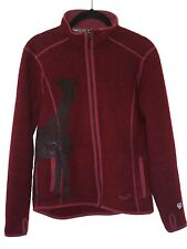 KUHL Alfpaca Fleece Red Full Zip Front Thumb Hole Cuff Jacket Womens S ~ Giraffe