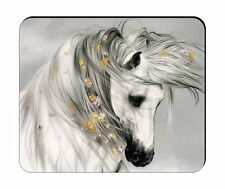 HORSE HEAD & FLOWERS ART DRAW MOUSE PAD -gds2Z