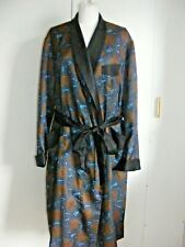 """Vintage 1960s Gents Tootal Tricel smoking jacket dressing gown blue gold sq 38"""""""