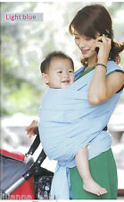New Stretchy Cotton Baby Sling Wrap Baby Carrier, LIGHT BLUE, 0-18 Months