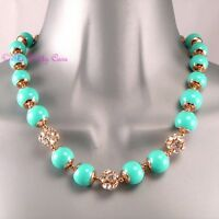 Mint Turquoise Chic Bubble Bead & Crystal Gold Toggle Collar Statement Necklace