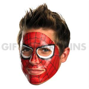 Marvel Spider-man Spiderman Face Tattoo Red Web Mask Adult Costume Men, easy