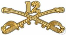 ARMY 12TH CAVALRY GOLD LAPEL HAT PIN