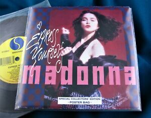 MADONNA EXPRESS YOURSELF 7'' VINYL POSTER BAG LIMITED RECORD Like A Prayer Promo
