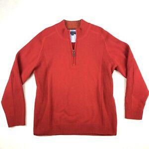 Duchamp Jumper Mens Size M Red Wool Cotton Warm Pullover Sweater Zip